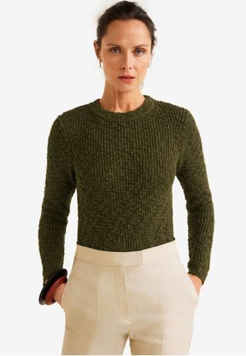 Mango green Open-Knit Sweater 27BFCAAC7B2418GS_1