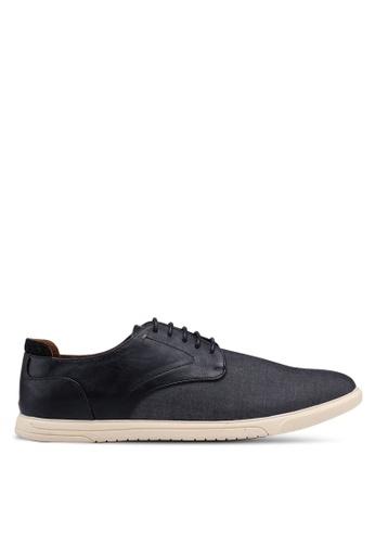 Burton Menswear London black Black Chambray Derby Shoes 4E9DDSHBFAAEC2GS_1
