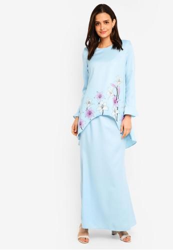 Gene Martino blue Flower Print Kurung Batik 535C7AAE094B45GS_1