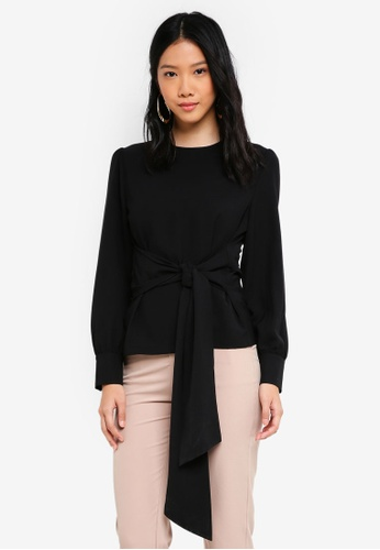 ZALORA black Long Sleeves Blouse with Waist Tie 6D080AAE2C6D74GS_1