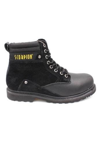 midzone black Genuine Leather Steel Toe Safety Boots MI949SH02WJXMY_1