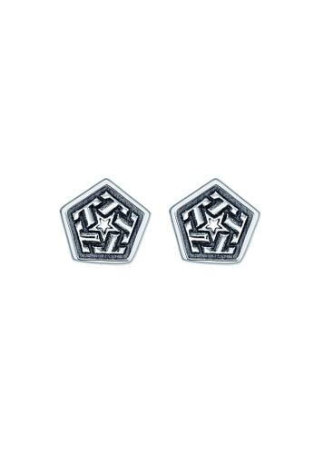 SC Tom Silver black and silver Tribal Stud Earrings SC872AC76XLZPH_1