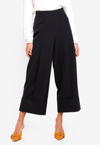 Sisley black Straight Wide-leg Trousers BA89BAAE2F4931GS_1