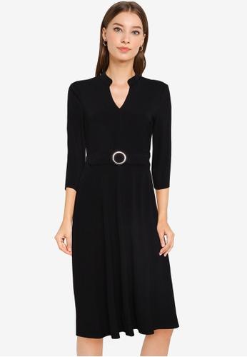 ZALORA WORK black Notch Neck Dress With Belt B40E5AA1752682GS_1