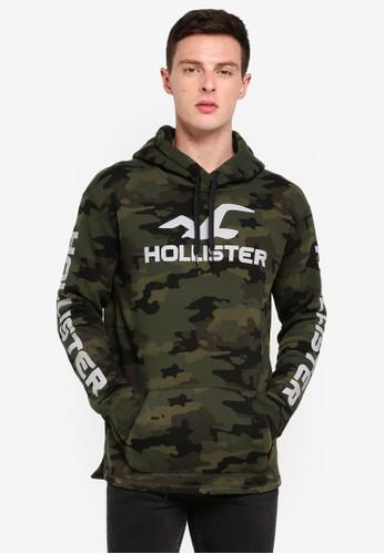 Hollister green Sport Print Logo Hoodie 9AE1EAABAD3716GS_1