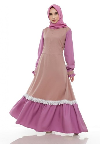 First Hijab beige Dress Hanessa Arumi in Cream 0A079AA926659AGS_1