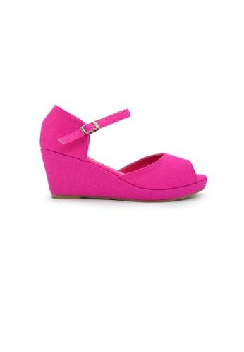 SHINE pink Open Toe Platform Wedges SH554SH0GN8BSG_1
