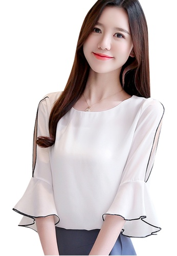 Halo white Flared Sleeves Chiffon Blouse A628EAAFCEC1A4GS_1
