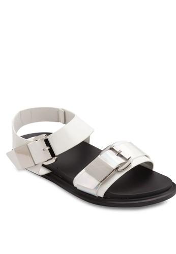 扣環蛇紋寬帶涼鞋, 女鞋, zalora退貨鞋