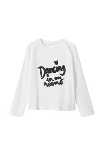 MANGO KIDS white Long-Sleeved T-Shirt With Message E7F34KA403FE8CGS_1