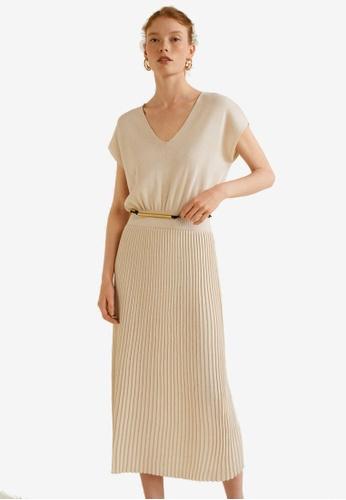 Mango beige Pleated Skirt Dress D4487AAB4B481FGS_1