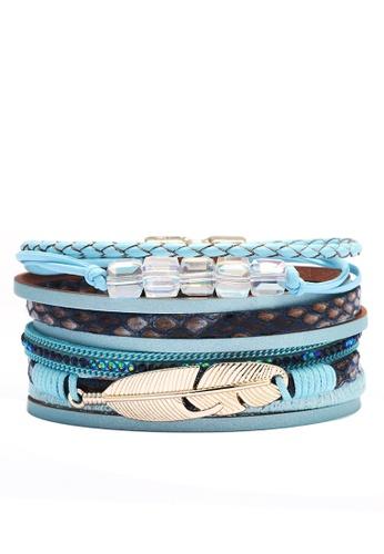 HAPPY FRIDAYS Rhinestone Feather Synthetic Leather Bracelet QNW2551 97927ACCF21C51GS_1