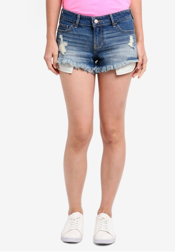 Hollister blue Pocket Embroidery Fray Shorts 55182AABD9EC41GS_1
