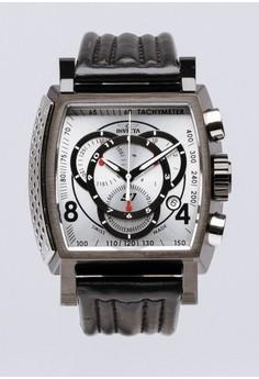 S1 Rally Men 48mm Case Black Leather Strap Silver Dial Quartz Watch 20249