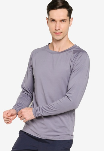 ZALORA ACTIVE grey Fitted Long Sleeve T-Shirt 3DD27AADE9313CGS_1