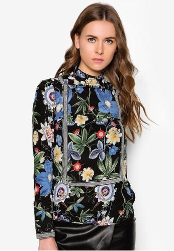 植物zalora 衣服尺寸印花絲綢長袖上衣, 服飾, 上衣
