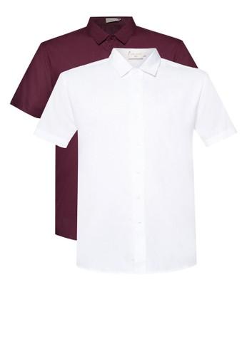 二入撞色短袖襯衫組, 服飾, zalora鞋子評價襯衫