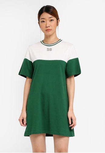 Something Borrowed white Colour Blocked Tee Dress with Rib Trim 75F08ZZE09D828GS_1