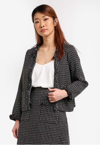 Dorothy Perkins black Boucle Frill Jacket DO816AA0SRDIMY_1