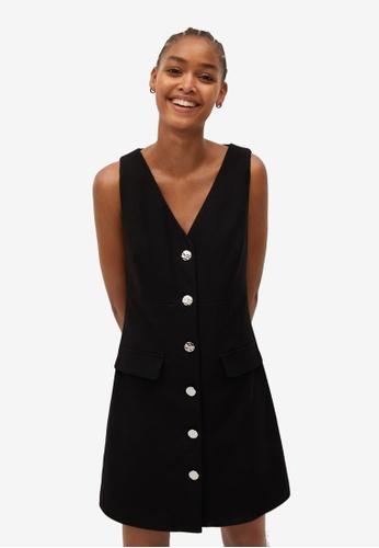 Mango black Buttons Pichi Dress 98687AA369371DGS_1