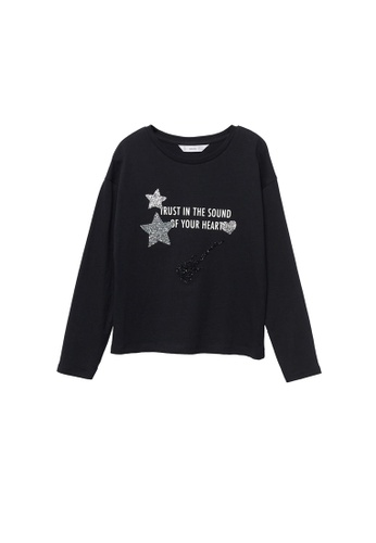 MANGO KIDS black Shiny Long-Sleeved T-Shirt E4C9FKAE929593GS_1