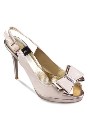 zalora是哪裡的牌子蝴蝶結露趾繞踝高跟鞋, 女鞋, 鞋