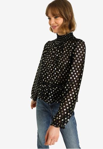 PIMKIE black and gold Polka Dot Sheer Blouse B57DFAA7B72D5FGS_1