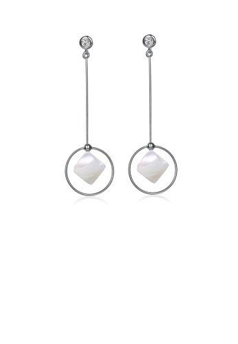 Glamorousky white 925 Sterling Silver Simple Elegant Fashion Geometric Round and Sqaure Sqaure Shell Earrings with Cubic Zircon 131ADACC85DE06GS_1