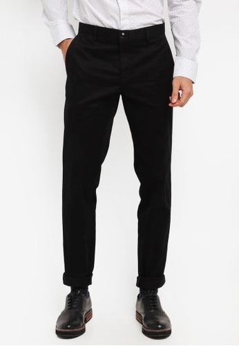 United Colors of Benetton 黑色 素面斜口袋修身長褲 814F0AAA6BA73DGS_1