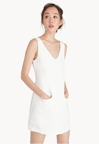 Pomelo white Mini V Neck Front Pocket Dress - White D426EAA152E2F1GS_1