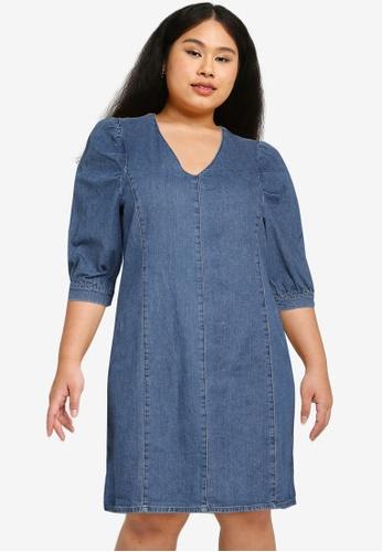 Only CARMAKOMA blue Plus Size Lursa Life Denim Tunic Dress F96ABAAC452464GS_1