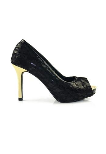 SHINE black Peep Toe Lace Plateform Heels SH554SH60ZJZSG_1