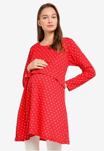 Aqeela Muslimah Wear red Nursing Tunic Top 3515EAA19B8568GS_1