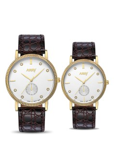 NARY Couple Casual Leather Quartz Watch - 9003