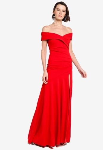Goddiva red Scuba Crepe Off Shoulder Maxi Dress A3FAAAAA6BDA3DGS_1