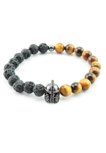 Memento Collection black and brown Signature Spartan Head Detailed Lava Tiger Eye Bracelet ME060AC22XBHMY_1