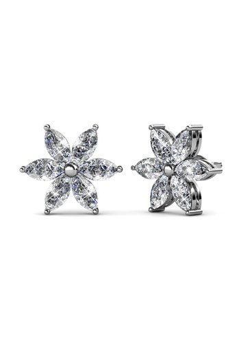 Her Jewellery silver Petal Flower Earrings (White Gold) - Made with premium grade crystals from Austria 2B60BAC3B9CAA9GS_1