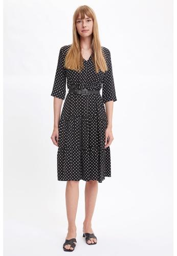 DeFacto 黑色 Long Sleeve Midi Dress CE638AA27A4F49GS_1