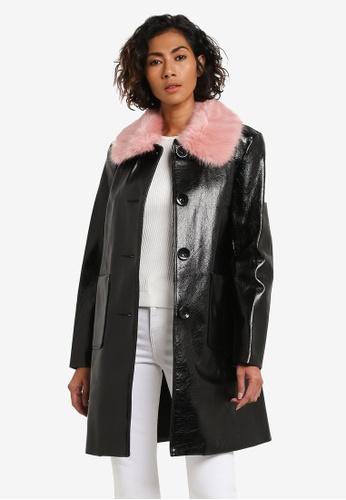 TOPSHOP black Vinyl Pink Fur Collar Coat TO412AA0ROV0MY_1