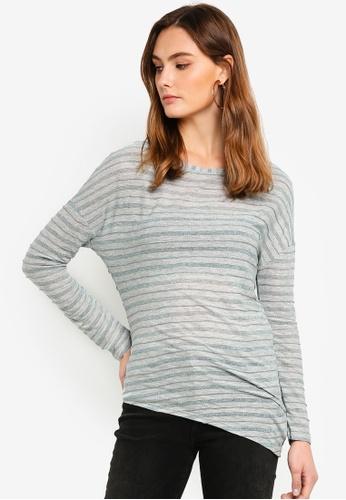 Sisley grey Asymmetric Striped T-shirt 8556FAA2F95FD4GS_1