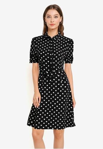 ZALORA WORK black and multi Puff Sleeves Dress With Belt 33E3EAA9B76595GS_1