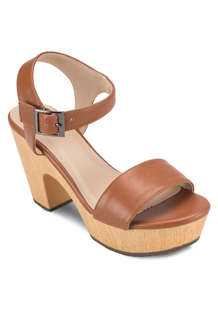 Wooden Chunk Heeled Sandals