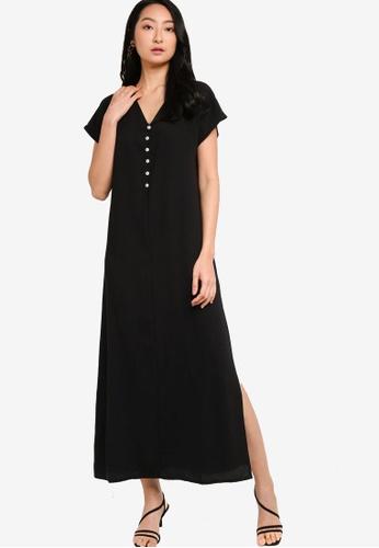 ZALORA BASICS 黑色 Button Down Short Sleeve Maxi Dress 4E282AACA21472GS_1