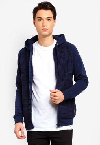 Brave Soul navy Zip Through Kintted Front Hoodie FB37FAAA440F18GS_1