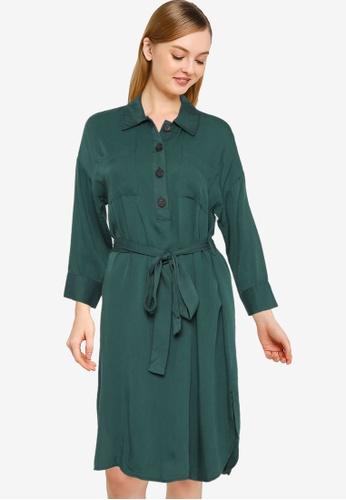 Nichii 綠色 Front Button Belted Dress F5D2FAA3F94D0CGS_1