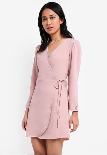 TOPSHOP pink Crepe Wrap Mini Dress 08E98AADED4255GS_1