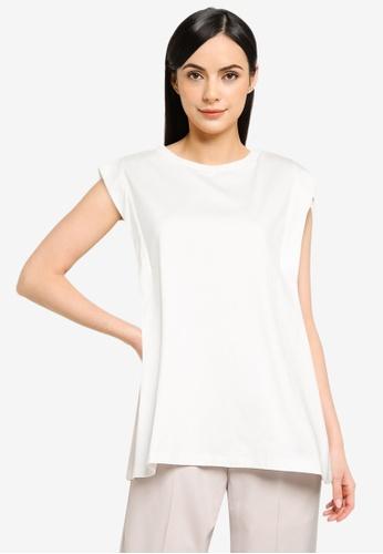 LOWRYS FARM white Tuck Sleeve Top 5B02FAAF5F4349GS_1