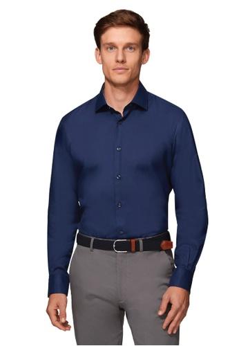 T.M. LEWIN blue T.M.Lewin Slim Fit Navy Paisley Trim Shirt 01119AA72B2462GS_1