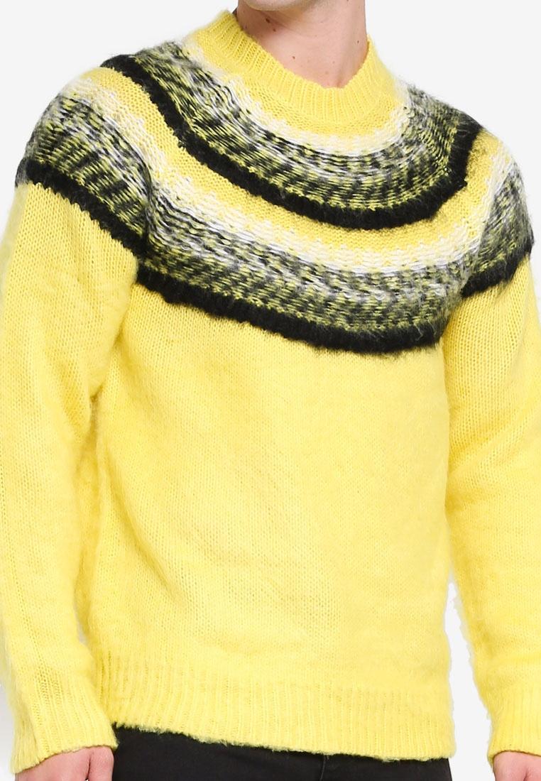 Fair Isle Yellow Topman Jumper Neck Yellow Crew aqw5wBgd