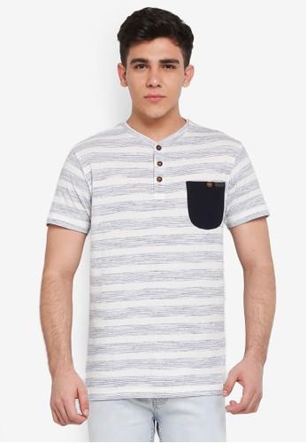 Indicode Jeans white and grey Robby Melange Striped Pocket Grandad T-Shirt B31EFAAF911084GS_1